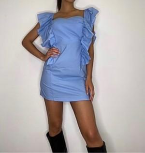 Obleka Volančki modra
